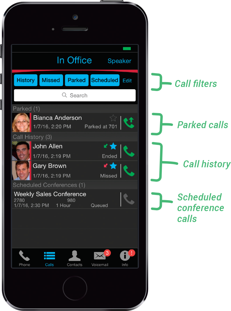 Access Call History and Scheduled Conference Calls